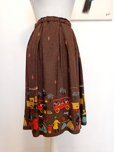 1940s - Adorable Soft Gabardine Wool Novelty Print Skirt - W26 to 36 (66 to 92cm)