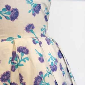 1950s - Adorable Purple Clovers Cotton Dress - W26 (66cm)