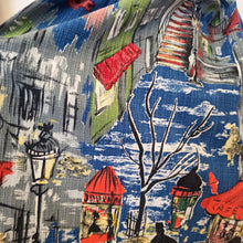 Load image into Gallery viewer, 1950s - Fabulous Street Scenes Novelty Print Barkcloth Skirt - W28 (72cm)