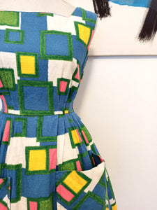 50s 60s - ROBBY - Colorful Big Pockets Cotton Dress - W25 (64cm)
