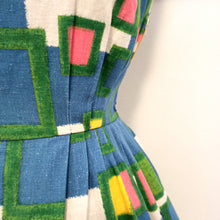 Carica l'immagine nel visualizzatore di Gallery, 50s 60s - ROBBY - Colorful Big Pockets Cotton Dress - W25 (64cm)