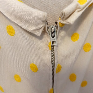 1940s - Germaine Bourgeois, Paris - Adorable Yellow Dots Rayon Dress - W31 (79cm)