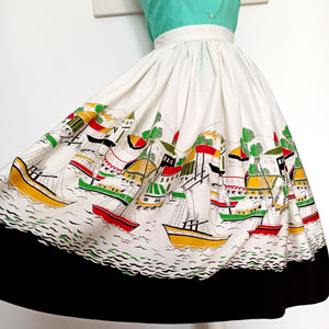 1950s - Truly Fabulous Novelty Print Cotton Skirt - W27.5 (70cm)