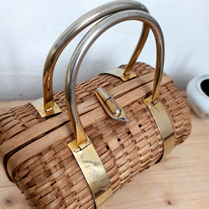 1950s - Adorable Bamboo Wicker Oval Handbag