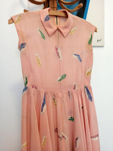 1930s - AS IS -Adorable Silk Sheer Pink Pale Feathers Dress - W25 (64cm)