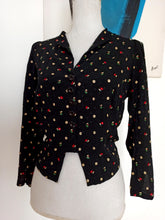 Load image into Gallery viewer, 1930s 1940s - Amazing Black Crepe Floral Stamp Blouse - W33 (84cm)