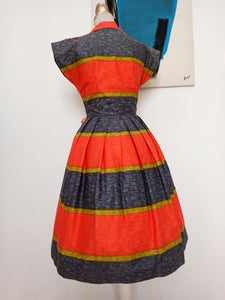 1950s - Atlantic, USA - Stunning Colors Cotton Dress - W28 (70cm)