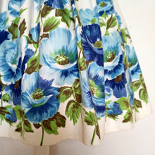 Load image into Gallery viewer, 1950s - St. Michael, UK - Adorable Massive Blue Roses Skirt - W26 (66cm)