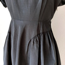 Load image into Gallery viewer, 1930s 1940s - Fabulous Black Soft Taffeta Velvet Dress - W27 (69cm)