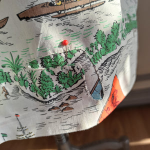 1940s 1950s - Fabulous Hawaiian Canoes Novelty Print Skirt - W28 (72cm)