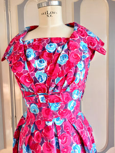 1950s - Stunning Removable Collar Floral Dress - W27 (68cm)