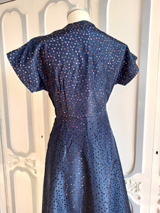 1940s 1950s - Rare Perforated Taffeta Printed Dress - W32 (82cm)