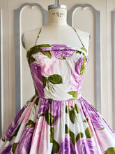 Load image into Gallery viewer, 1950s - Stunning Purple Roses Spaghetti Halter Dress - W26 (66cm)