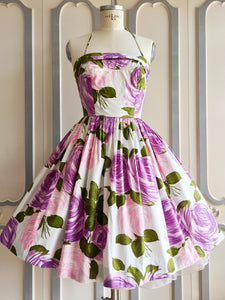 1950s - Stunning Purple Roses Spaghetti Halter Dress - W26 (66cm)