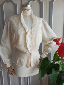 1930s - Spectacular Art Deco Puff Sleeves Silk Blouse - W37 (94cm)