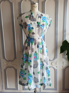 1940s 1950s - Fabulous Blue Roses Print Sheer Dress - W27.5 (70cm)