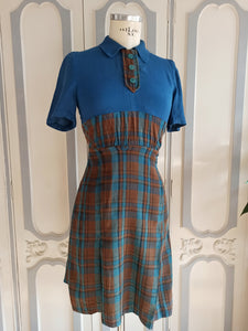 1930s - Gorgeous Rayon Soft Wool Civil Dress - W32 (82cm)