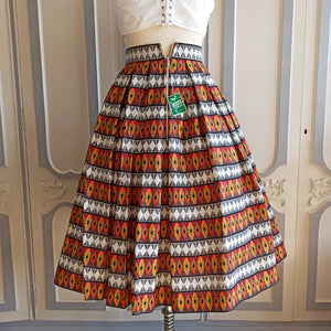 1950s - DEADSTOCK NWT - Barkcloth Diamonds Print Skirt - W26 (66cm)
