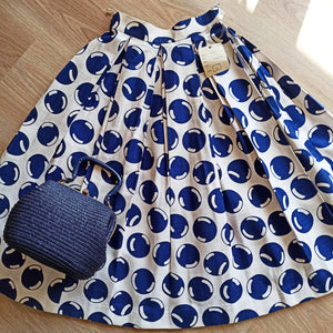 1950s - DEADSTOCK NWT - Navy Bubbles  Barkcloth  Skirt - W24.5 (62cm)