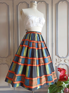 1950s - DEADSTOCK NWT - Fabulous Abstract Print Cotton Skirt - W25 (64cm)