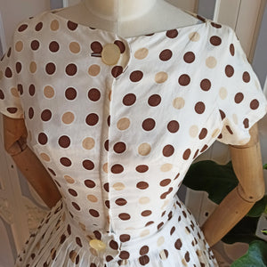 1950s - Marvellous Brown Dotted Silky Cotton Dress - W25 (64cm)