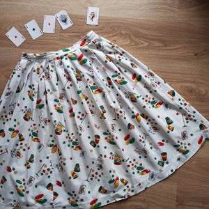 1950s - Fabulous Casino Novelty Print Skirt - W32 (82cm)