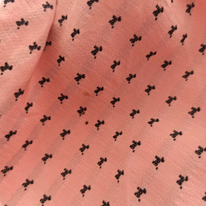 1930s - Romantic Pink Black Poodles Rayon Dress - W28 (72cm)