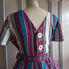 Load image into Gallery viewer, 1950s - Fabulous Colors Barkcloth Belted Dress - W34 (88cm)