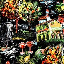 Load image into Gallery viewer, 1950s - Spectacular Italian Village Wine Sailboats Novelty Print Skirt - W26 (66cm)