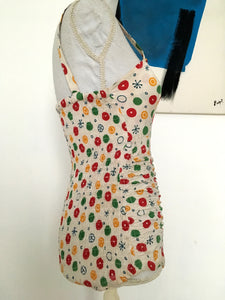 1940s 1950s - OHO! - Fabulous Atomic Print Cotton Swimsuit - W24/30 (60/76cm)