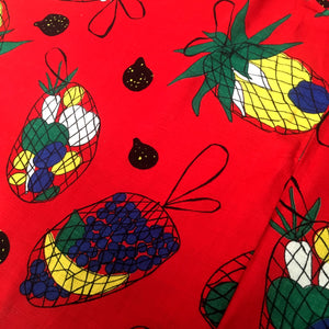 1950s - Spectacular Novelty Print Fruits Full Circle Skirt - W26 (66cm)