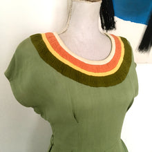 Load image into Gallery viewer, 1940s - Fabulous Gabardine Rayon Green Dress - W28 (70.5cm)
