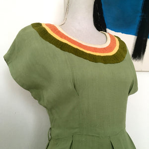 1940s - Fabulous Gabardine Rayon Green Dress - W28 (70.5cm)