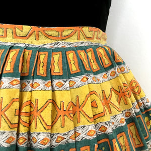 1950s - Adorable Abstract Cotton Summer Skirt - W27 (68cm)