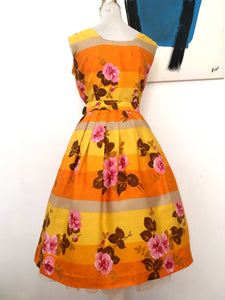 1950s - Spectacular Summer Belted Cotton Dress - W27/27.5 (68/70cm)