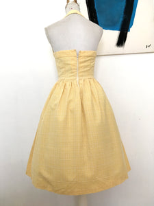 1950s 1960s - Adorable Vanilla Cotton Halterneck Dress - W26 (66cm)
