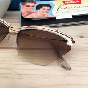 1950s - DEADSTOCK - Primetta, Germany - White Feather Sunglasses