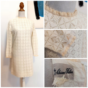 1960s - Adrian Tabin - Gorgeous White Cotton Lace Dress - W31 (80cm)