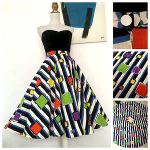 1950s - Fabulous Abstract Full Circle Barkcloth Skirt - W27 (68cm)