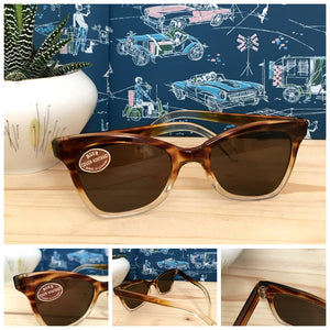 1950s - DEADSTOCK - AUER, Germany - Two Tone Brown Sunglasses