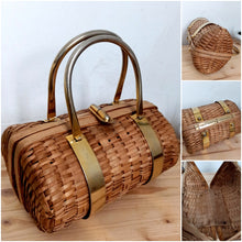 Load image into Gallery viewer, 1950s - Adorable Bamboo Wicker Oval Handbag