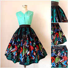 Load image into Gallery viewer, 1950s - Fabulous Calypso Dancers Novelty Print Barkcloth Skirt - W27 (68cm)