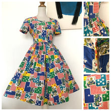 Load image into Gallery viewer, 1940s 1950s - Stunning Playing Cards Novelty Print Dress - W31.5 (80cm)