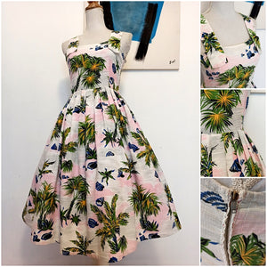 1950s - Stunning Palm Trees At Dawn Dress - W32 (82cm)