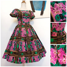 Load image into Gallery viewer, 1950s - Gorgeous Wood & Flowers Print Cotton Dress - W27 (68cm)