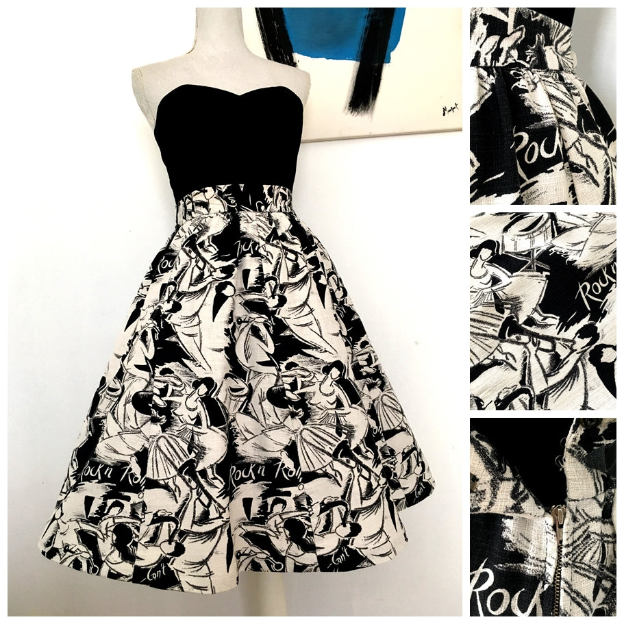 1950s - Collector's Rock & Roll Barkcloth Skirt - W27.5 (70cm)