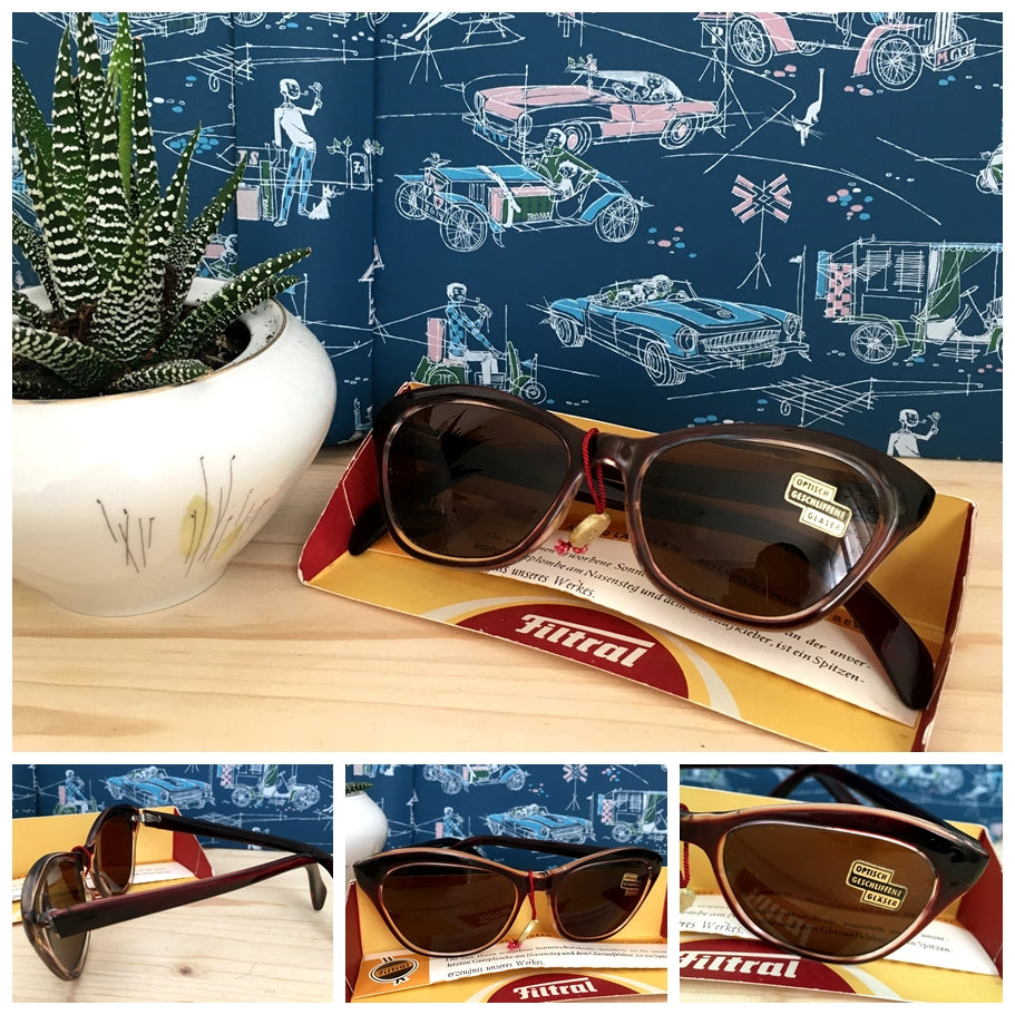 1950s - DEADSTOCK - FILTRAL, Germany - Dark Wine Cat-Eye Sunglasses