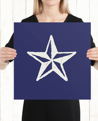 Indigo Nautical Star Art Print