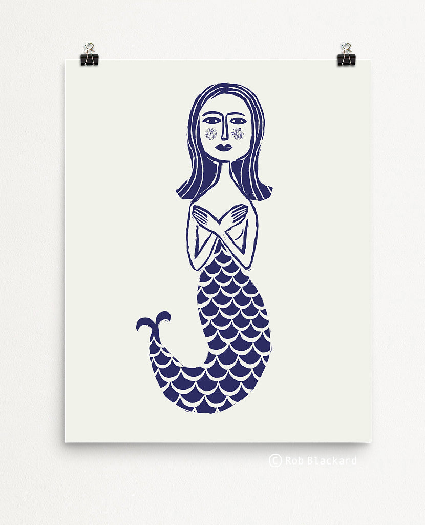 Indigo Mermaid Art Print