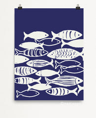 Indigo School Of Fish Art Print